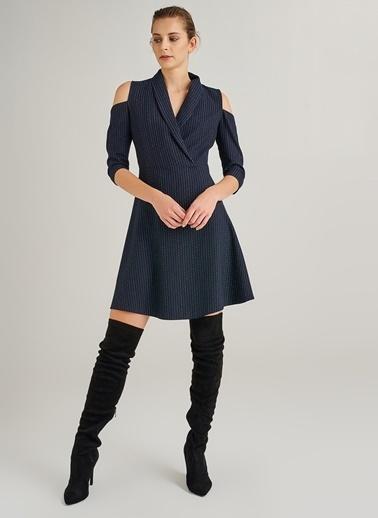 People By Fabrika Kol Detaylı Çizgili Elbise Lacivert